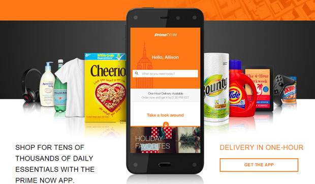 Amazon PrimeNow gets your TVs, video games, and even toilet paper to you in an hour.