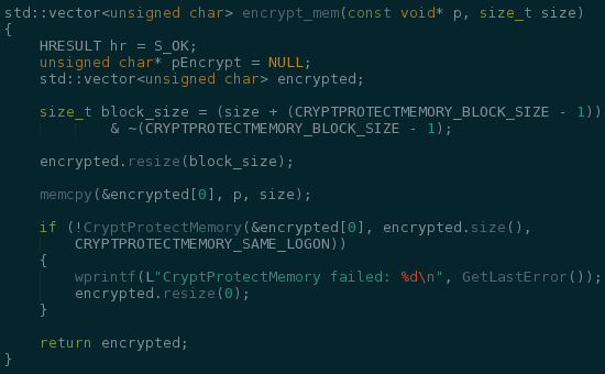 CryptProtectMemory Code