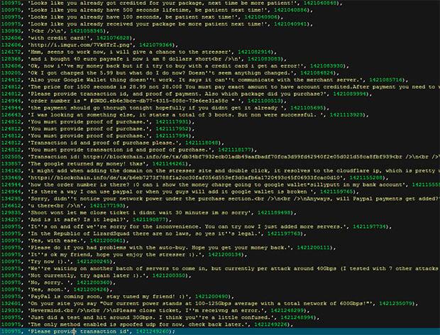 Lizard Squad DDoS Customer Service