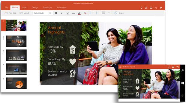 PowerPoint for Window 10 app.