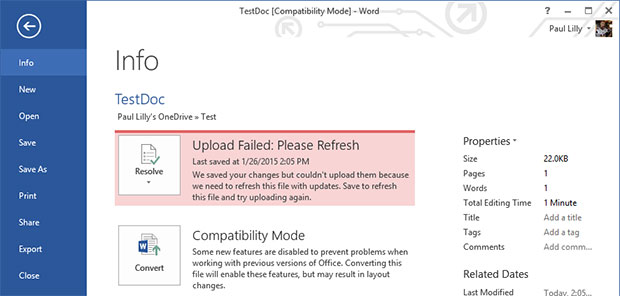 OneDrive Sync Fail