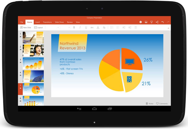 PowerPoint is another app designed to be touch-friendly on Android.