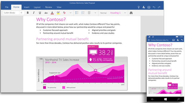 Microsoft Universal Office Apps for Windows 10