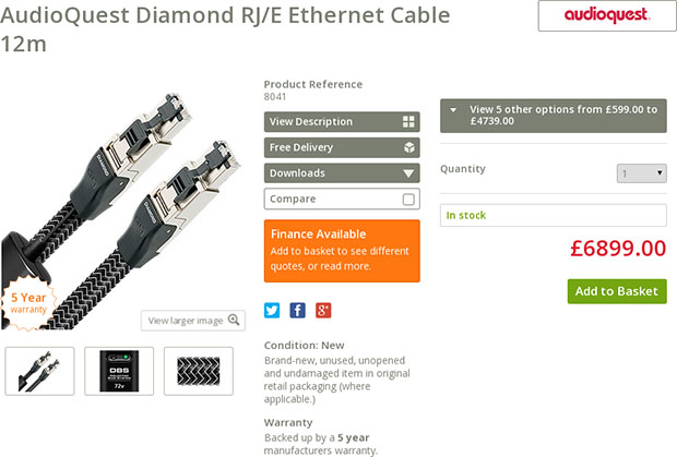 AudioQuest Ethernet Cable Product Page