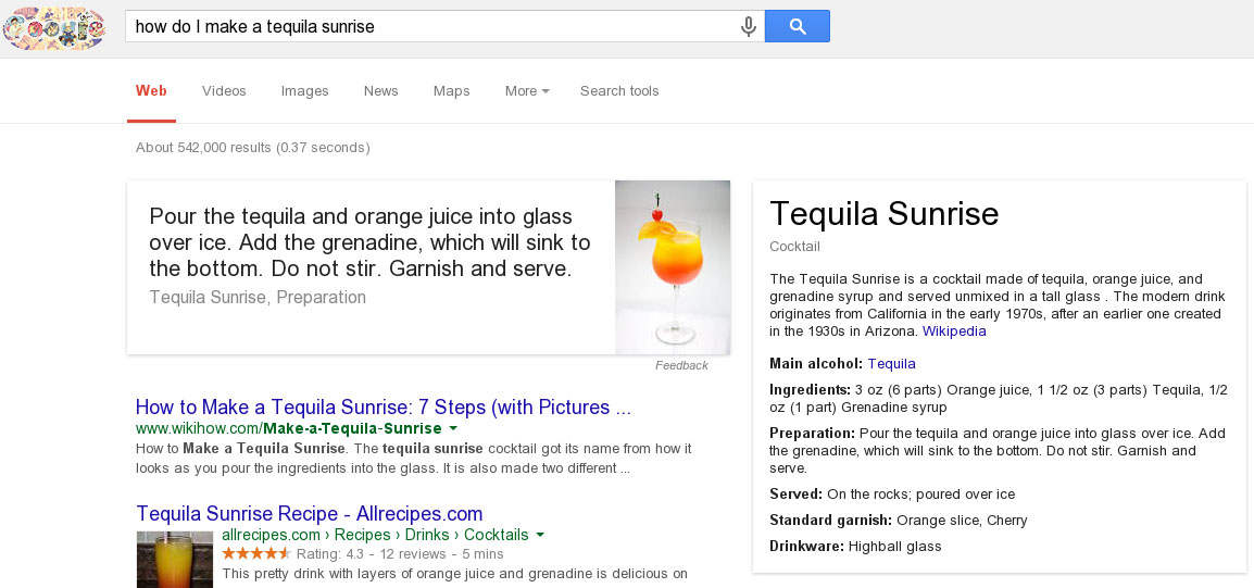 Google Search Adds 'Bartender' To Its Esteemed Resume, Shows How To Make Cocktails