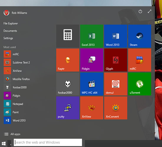 Windows 10 Transparent Start Menu
