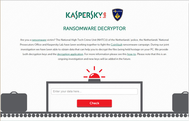 Kaspersky has a tool that lets people decrypt their files when CoinVault ransomware takes over.