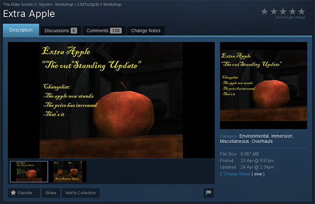 Steam Skyrim Apple Mod