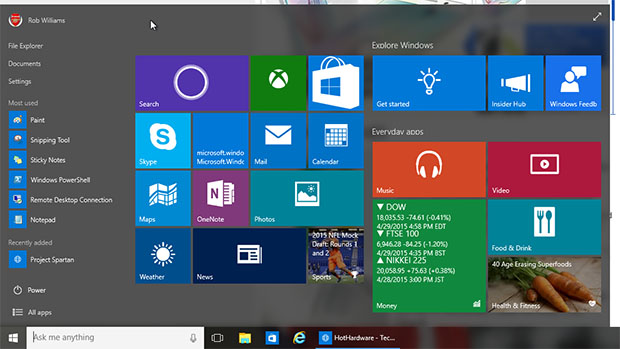 Windows 10 Build 10074 - Start Menu