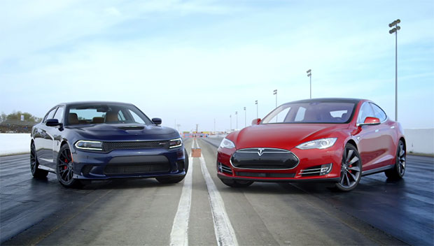 Tesla Model S and Dodge Charger SRT Hellcat