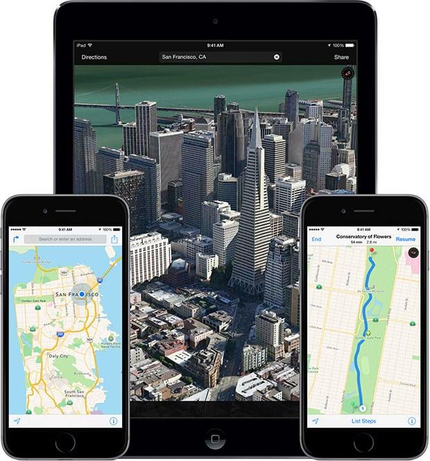 Apple Maps app. Credit: Apple Inc.