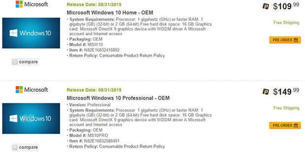 Newegg Windows 10 Pricing