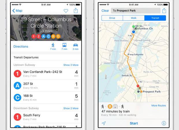iOS 9 Transit