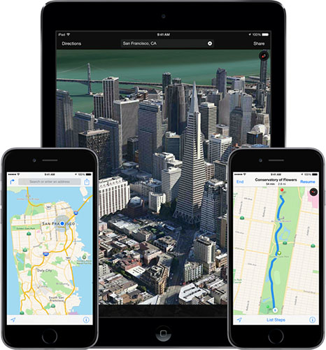 Apple Maps on iPad, iPhone