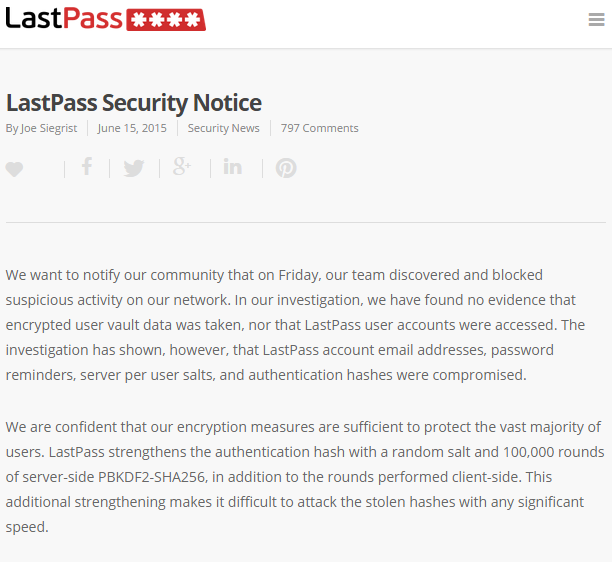 LastPass hack notification