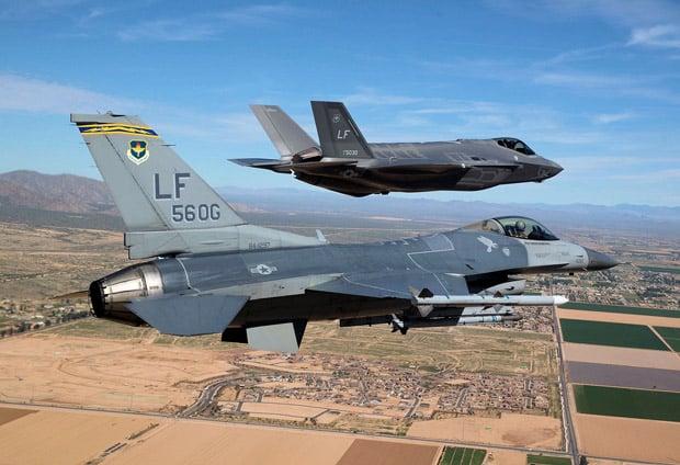 Lockheed Martin F-16C and F-35A Lightning II