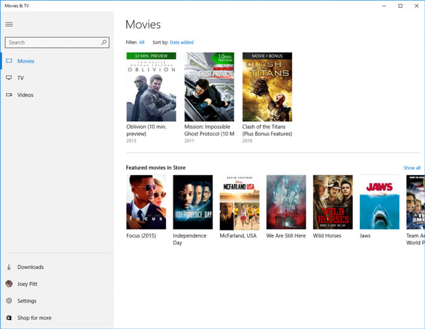 Movies and TV Windows 10 Xbox