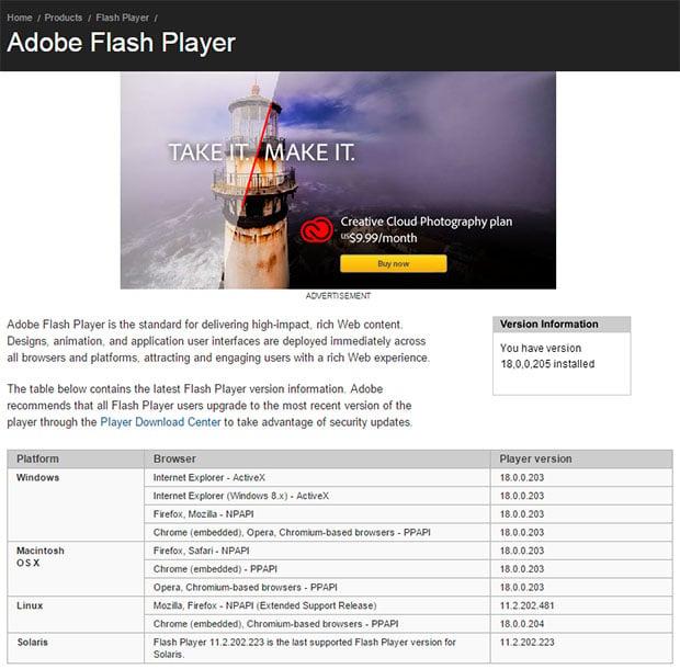 Adobe Flash Version