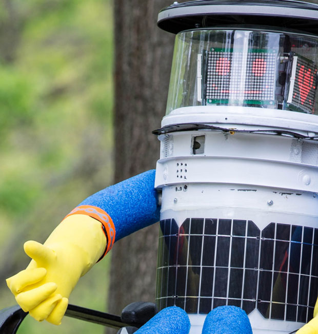 hitchBOT hitching a ride