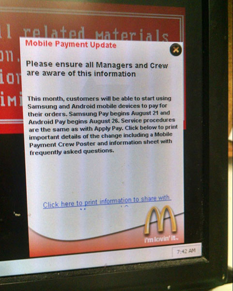 McDonalds Android Pay