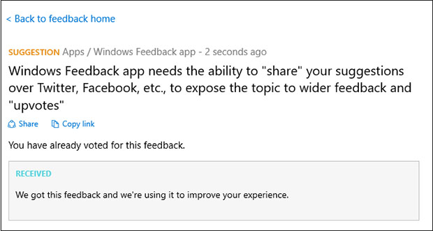 Windows 10 Feedback
