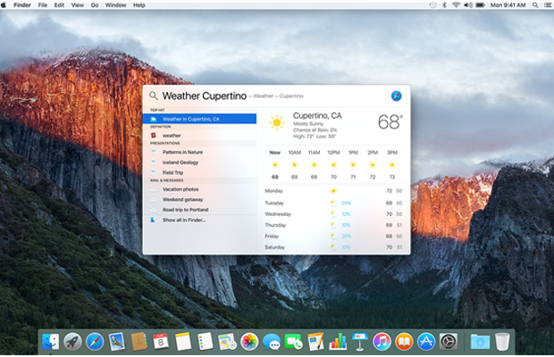 Mac OS X El Capitan Desktop