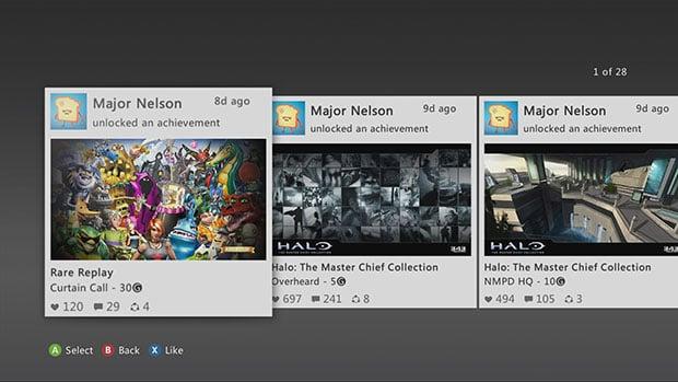 Microsoft Xbox 360 Activity Feed