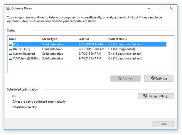 Windows 10 SSD Optiomizer