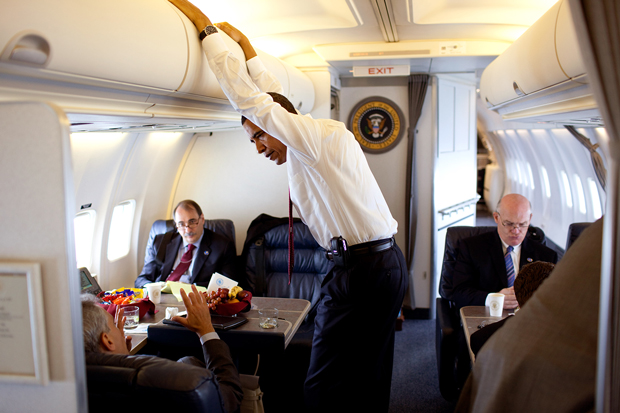 Barack Obama in Air Force Two