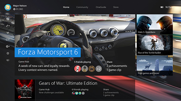 Xbox One Preview Interface
