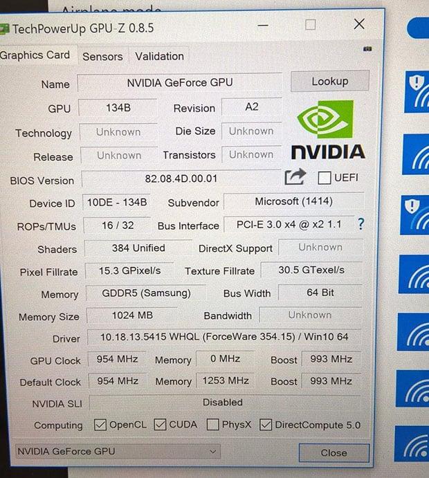 Microsoft Surface Book GPU Z