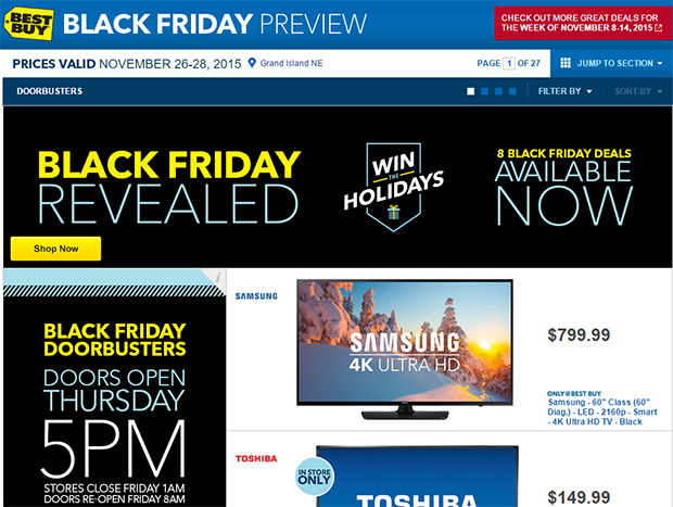 best buy black friday deals include cheap big screen tvs 100 off apple watch 35 fire tablet. Black Bedroom Furniture Sets. Home Design Ideas