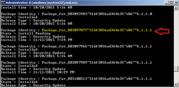 command prompt remove update
