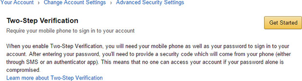 Amazon Two step Authentication