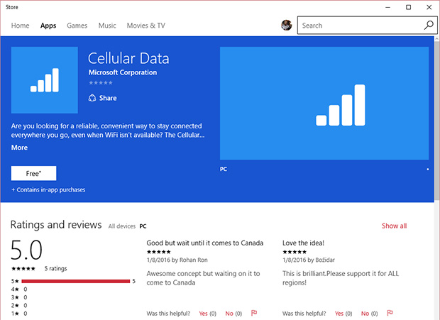 Microsoft Cellular Data