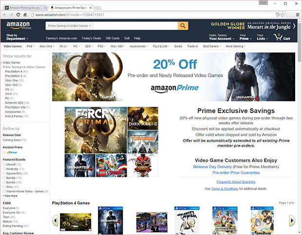 amazon prime perks expand with 20 percent off new game releases hothardware. Black Bedroom Furniture Sets. Home Design Ideas