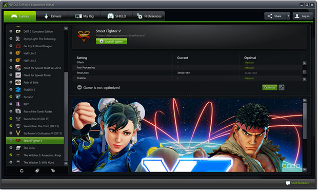 GeForce Experience Street Fighter V