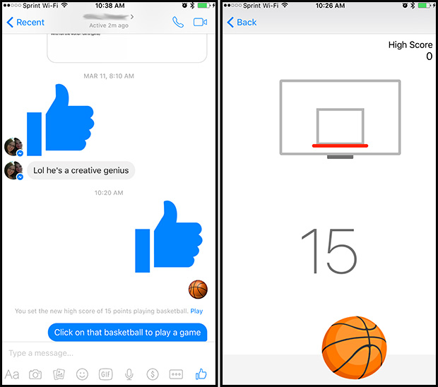 Facebook Messenger Basketball