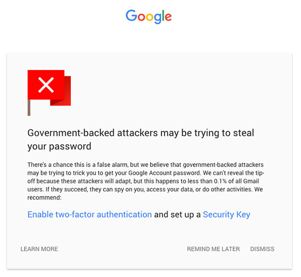 Gmail State sponsored Warning