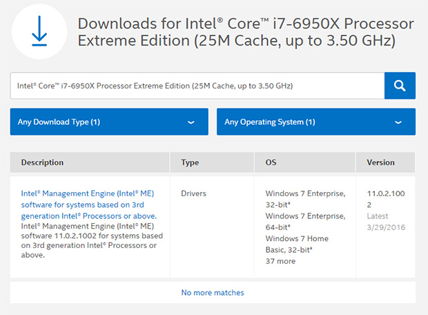 Intel Support Page Core i7-6950X