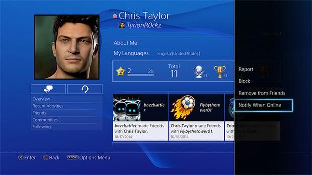 PlayStation 4 Friend Online Notification