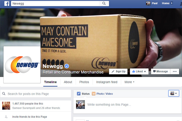 Newegg's Facebook Page