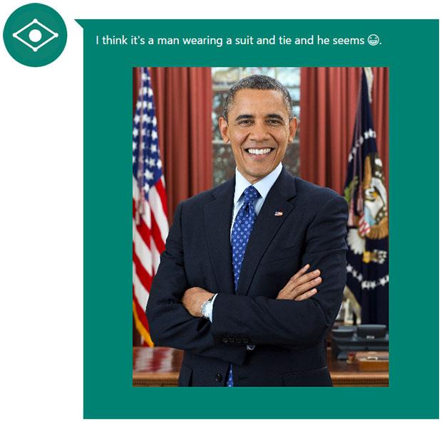 Microsoft Caption Bot Obama