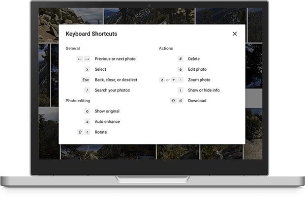 Google Photos Keyboard Shortcuts