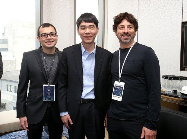 Sergey Brin and Lee Sedol