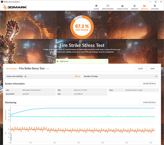 3DMark Stress Test Not Passed