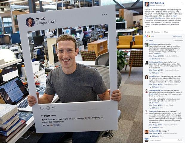 Mark Zuckerberg Instagram Post