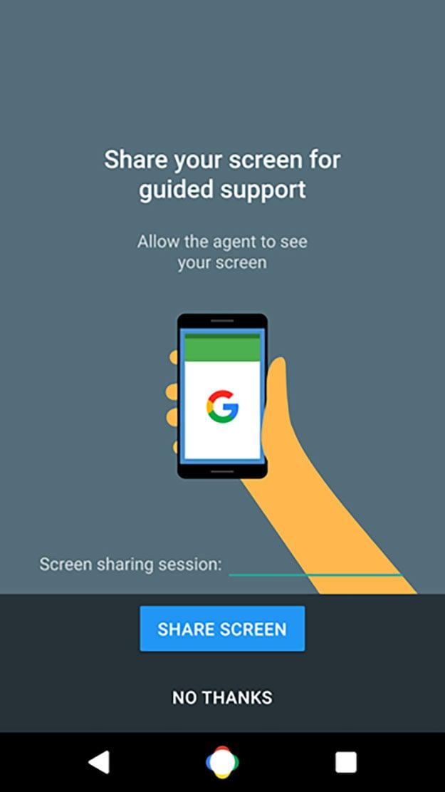 google shared screen