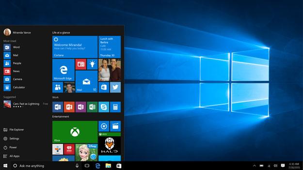 windows10 start
