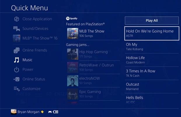 Sony PlayStation 4 Quick Menu
